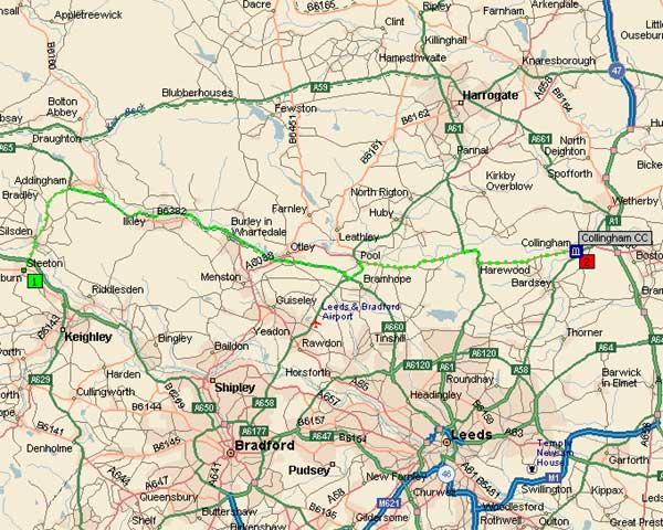 Route to Collingham & Linton Cricket Club